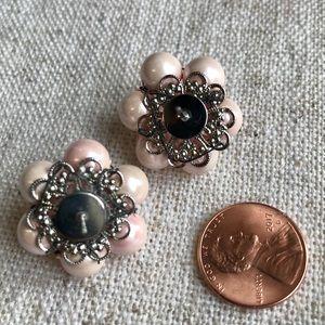Vintage Jewelry - Vintage pink cluster beaded earrings